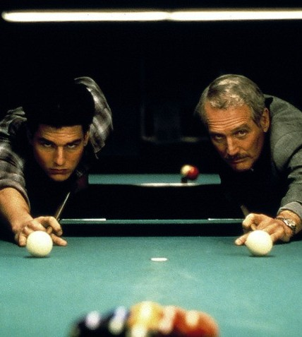 "Tom Cruise e Paul Newman no filme ""A cor do dinheiro"", de Martin Scorsese"